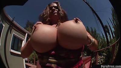 Freakky large boobies outdoors