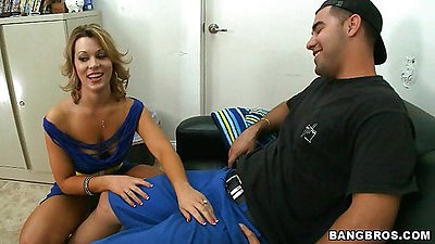 Back room milf Ashley Coda talks about how she sucks
