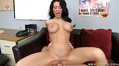 Mya Nicole spreads legs sitting on cock reverse cowgirl style