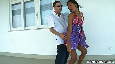Sexy Jasmine comes on to our balcony with some upskirts