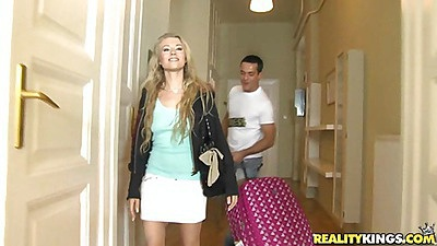 Hot dirty blonde Mychelle Moist is coming over
