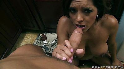 Milf is giving one hell of a wet blow job