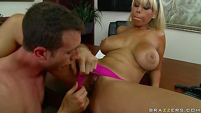 Bridgette pulls her magenta tight panties aside