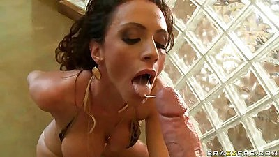 Ariella Ferra oiled up and ready for a deep throat