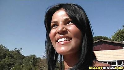 Lusty 18 year old latina in a white bikini