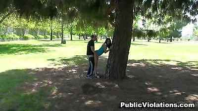 Outdoor public violations doggy fucking in park