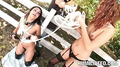 Cumshot face slut fucked outdoors