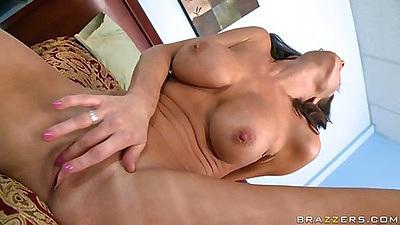 Big tits brunette shaved pussy milf masturbates