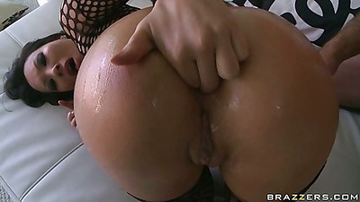 Asa in fishnets asian bends over for anal penetration