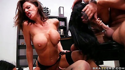 Group sex and blowjob with reverse cowgirl