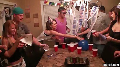 Real slut party with a birthday group bash