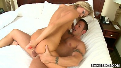 Ashley Sinclair humping on cock cowgirl and smiles at camera