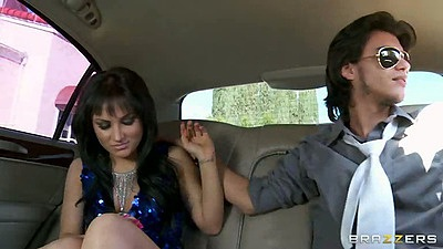 Teen brunette Gabriella Paltrova in the backseat of her car with driver blowjob