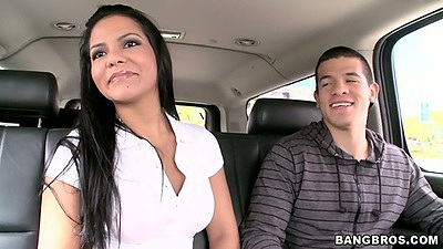 Milf Rose riding in the back seat and showing her ass