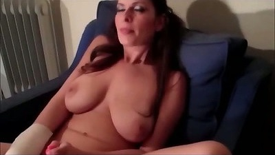 Big tits Brandon Areana masturbating then pov blowjob with close up
