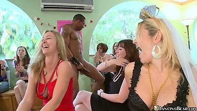 Big tits bride clothed and sucking dancing bear cock
