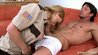 Big tits milf cop Krissy Lynn sucking dick and titty fuck