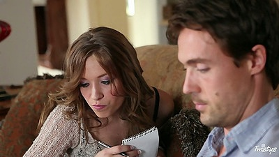 Babe Alyssa Branch doing some homework then sucks off her tutor