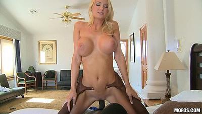 Cowgirl fucking nice white big tits milf Blake Rose with fat black cock