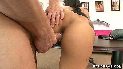 Doggy style rear fuck for petite latina with small tits