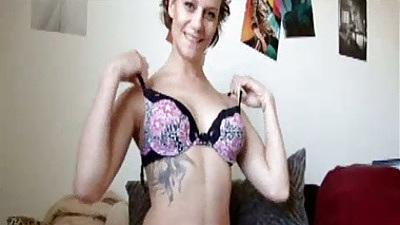 Amateur Alex Avery showing her natural medium tits and dildo masturbation
