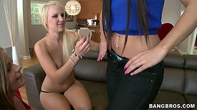 Lesbian teen whores Natalie Nunez and Mercedes Lynn with Destiny