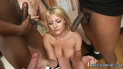 Group face fucking Velicity Von with white and black cocks