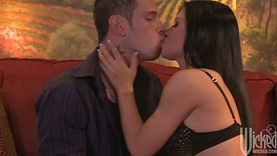 Rebeca Linares making out with her partner and undoing his pants