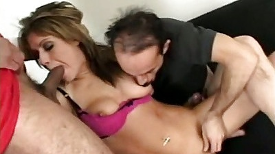 Tyla Wynn sucking some major cock in group with her head pushed in
