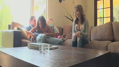 Ella & Madison lonely and with a guy going down to suck him