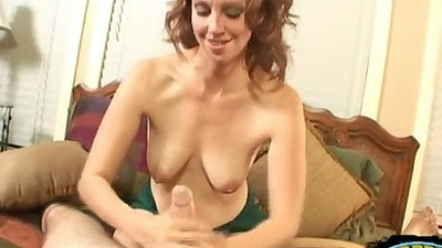 Natural tits Emma Day handjob in pov view