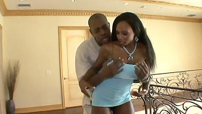 Big tits ebony milf Diamond Jackson in a hot baby blue dress getting ass licked