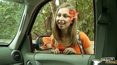 Picking up teen Riley Reid outdoors for a ride