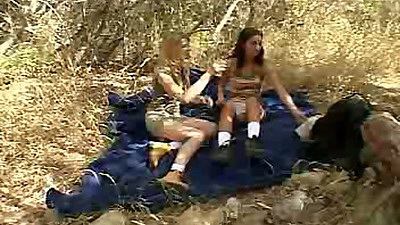 Lesbian Chloe18 and her gf undressing outdoors