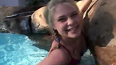 18 year old Little Summer playing in the pool in her cute bikini