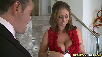 Latina big tit smilf Eva Notty undoing her her shirt
