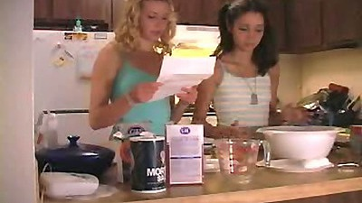 18 year old lesbians with Chloe18 doing something in the kitchen