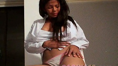 Solo 18 year old young latina in bra and panties getting naked