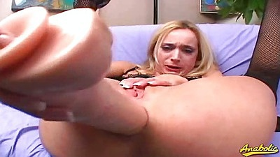 Huge anal dildo self fuck from Kelly Wells and sucking two fat cocks