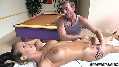 Oil massage with big tits Nicole Aniston and trimmed pussy licking