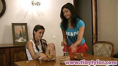 18 year old lesbians Tiny Tyler and her naughty teen friend