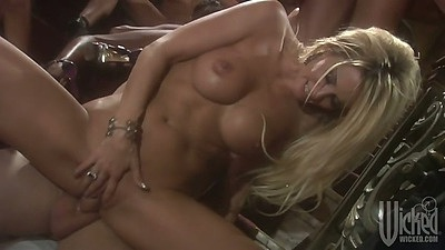 Reverse cowgirl sex with big tits bitches in group orgy