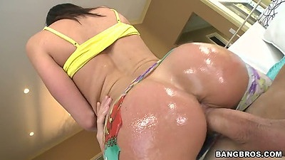 Oiled up ass cowgirl fuck with Kendra Lust and ripped open pants on ass