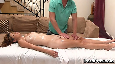 Oil massage with cute ten Natasha Malkova and her silky pussy