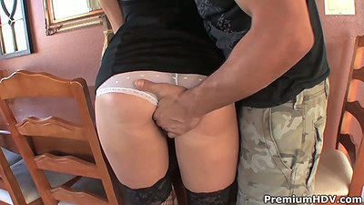 Reach up sexy maid Lizzie Tucker skirt and making her suck dick