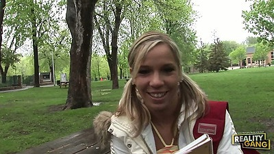 College teen Myriam picked up outdoor then gts naked for guy