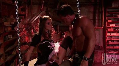 Fetish sex chains with Tori Black sucking penis