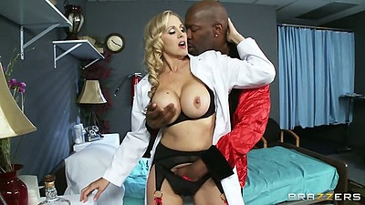 Interracial doctor action with Julia Ann getting licked