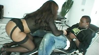Big ass ebony milf Adina Jewel blowjob and deep throat attempt