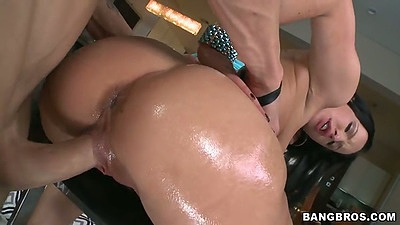 Oiled up ass Katie St. Ives gets rear entry doggy with sideways sex